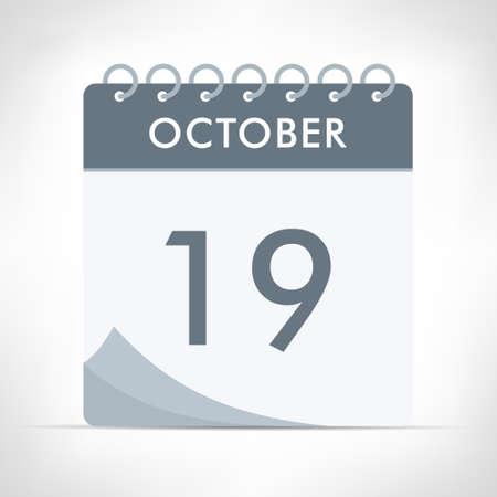 October 19 - Calendar Icon - Vector Illustration. Gray calendar.