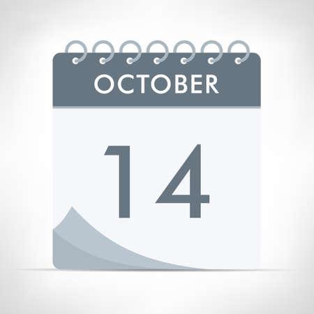 October 14 - Calendar Icon - Vector Illustration. Gray calendar. Illusztráció