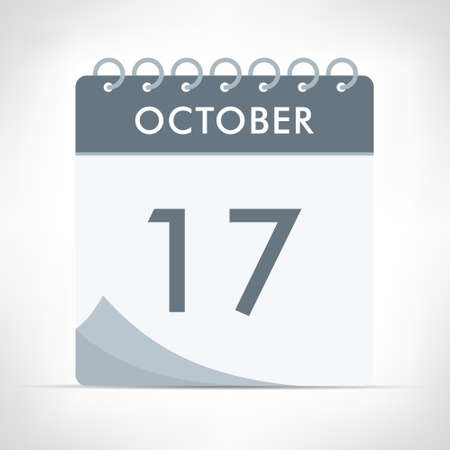 October 17 - Calendar Icon - Vector Illustration. Gray calendar.