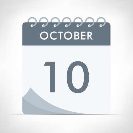 October 10 - Calendar Icon - Vector Illustration. Gray calendar.