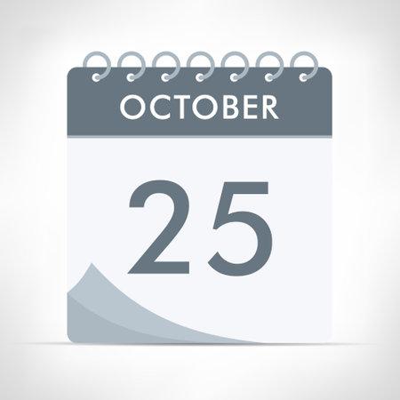 October 25 - Calendar Icon - Vector Illustration. Gray calendar.