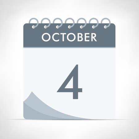 October 4 - Calendar Icon - Vector Illustration. Gray calendar.