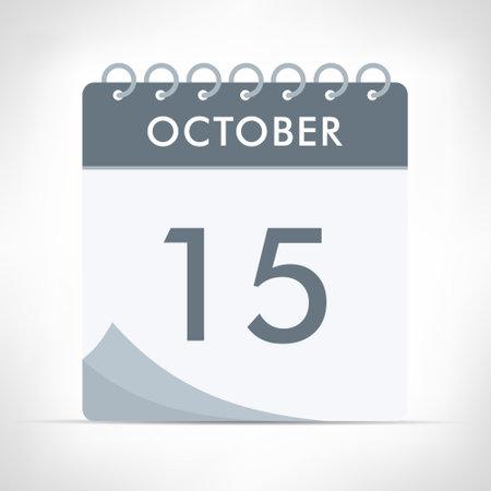 October 15 - Calendar Icon - Vector Illustration. Gray calendar.