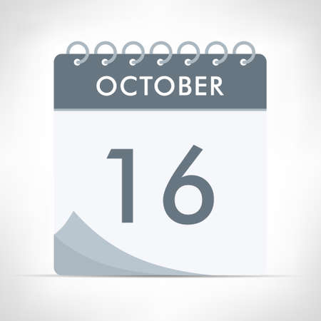 October 16 - Calendar Icon - Vector Illustration. Gray calendar. Illusztráció