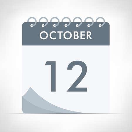 October 12 - Calendar Icon - Vector Illustration. Gray calendar.