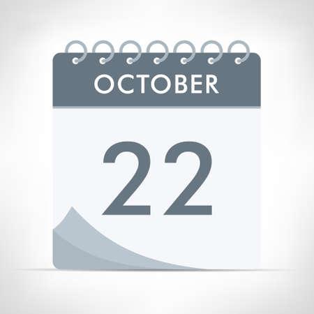 October 22 - Calendar Icon - Vector Illustration. Gray calendar. Illusztráció
