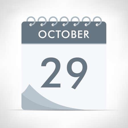 October 29 - Calendar Icon - Vector Illustration. Gray calendar.