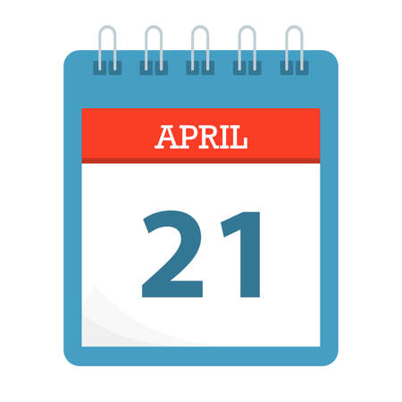 April 21 - Calendar Icon - Calendar template - Business vector illustration.