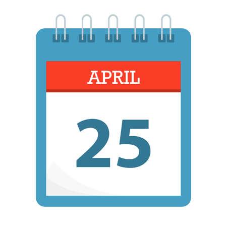 April 25 - Calendar Icon - Calendar template - Business vector illustration. Illusztráció