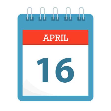 April 16 - Calendar Icon - Calendar template - Business vector illustration.