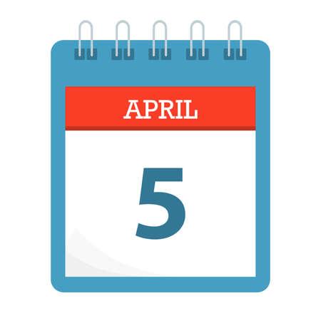 April 5 - Calendar Icon - Calendar template - Business vector illustration.
