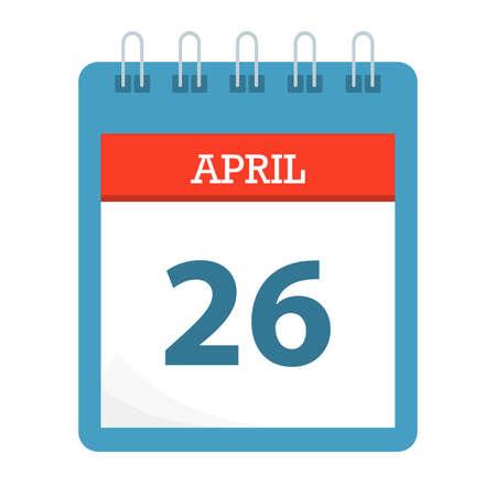 April 26 - Calendar Icon - Calendar template - Business vector illustration.