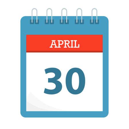 April 30 - Calendar Icon - Calendar template - Business vector illustration.