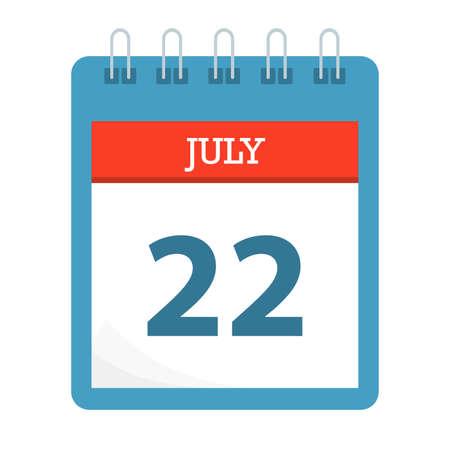 July 22 - Calendar Icon - Calendar template - Business vector illustration.