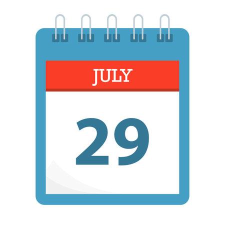 July 29 - Calendar Icon - Calendar template - Business vector illustration.