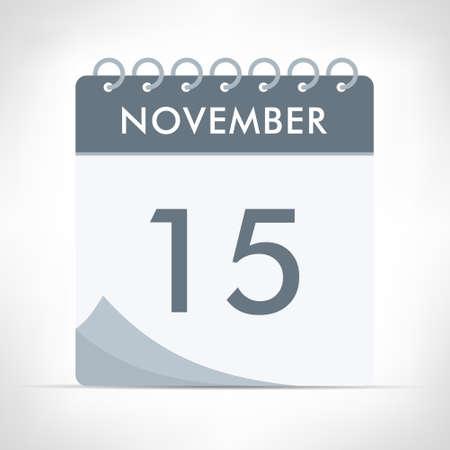 November 15 - Calendar Icon - Vector Illustration. Gray calendar.