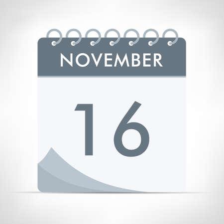November 16 - Calendar Icon - Vector Illustration. Gray calendar.