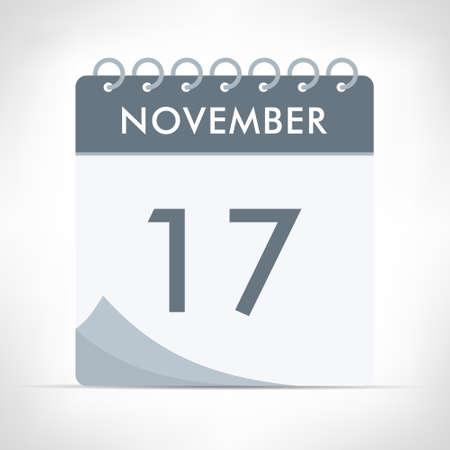 November 17 - Calendar Icon - Vector Illustration. Gray calendar.