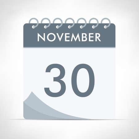 November 30 - Calendar Icon - Vector Illustration. Gray calendar.