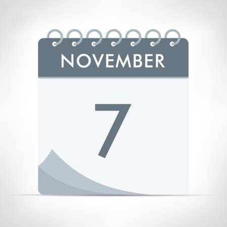 November 7 - Calendar Icon - Vector Illustration. Gray calendar.