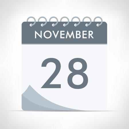 November 28 - Calendar Icon - Vector Illustration. Gray calendar. Illusztráció