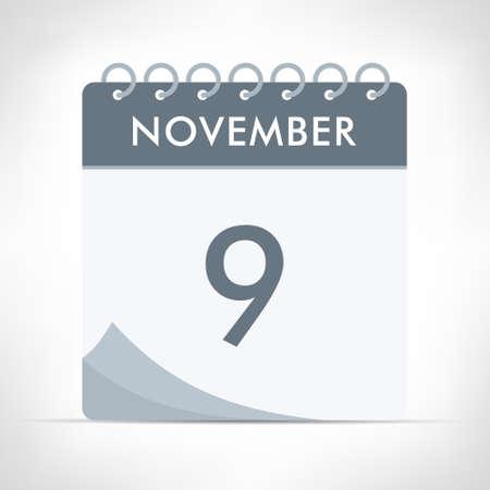 November 9 - Calendar Icon - Vector Illustration. Gray calendar.