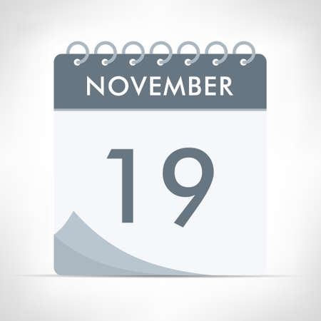 November 19 - Calendar Icon - Vector Illustration. Gray calendar.