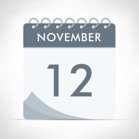 November 12 - Calendar Icon - Vector Illustration. Gray calendar. Illusztráció
