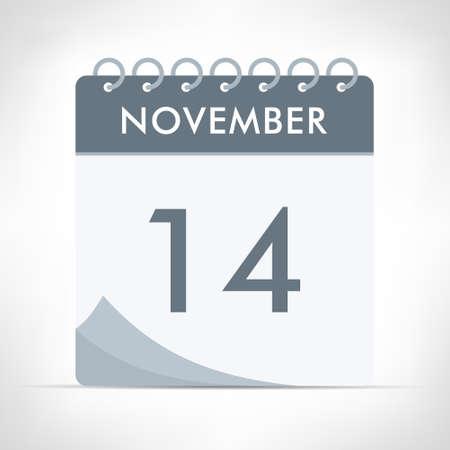 November 14 - Calendar Icon - Vector Illustration. Gray calendar.