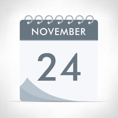 November 24 - Calendar Icon - Vector Illustration. Gray calendar.