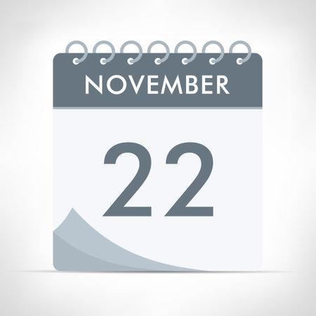 November 22 - Calendar Icon - Vector Illustration. Gray calendar. Illusztráció