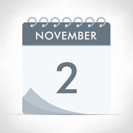 November 2 - Calendar Icon - Vector Illustration. Gray calendar. Illusztráció