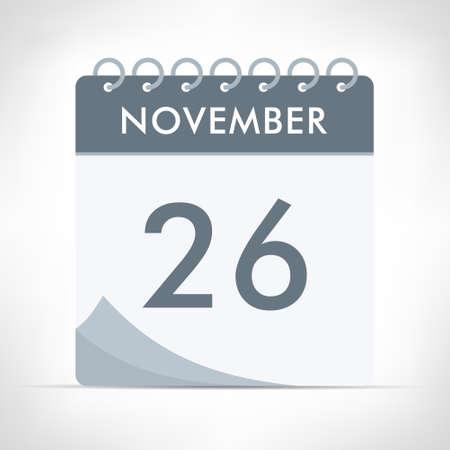 November 26 - Calendar Icon - Vector Illustration. Gray calendar. Illusztráció