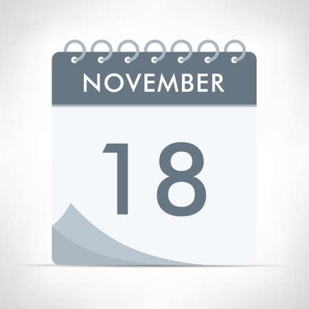 November 18 - Calendar Icon - Vector Illustration. Gray calendar.