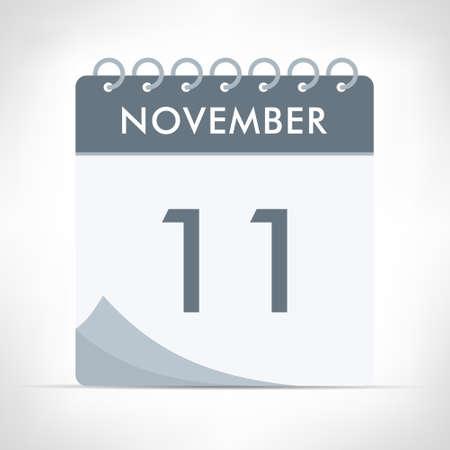 November 11 - Calendar Icon - Vector Illustration. Gray calendar.
