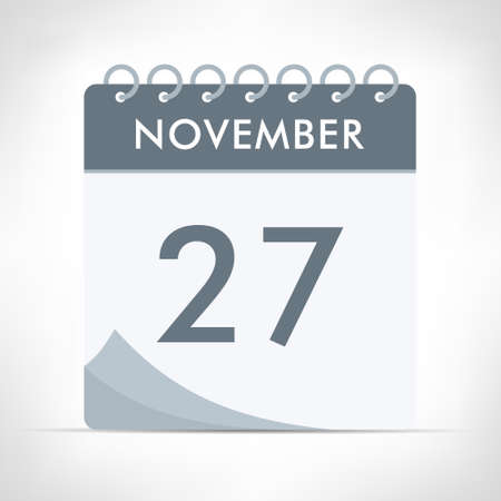 November 27 - Calendar Icon - Vector Illustration. Gray calendar.