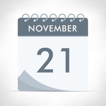 November 21 - Calendar Icon - Vector Illustration. Gray calendar.