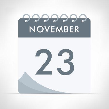 November 23 - Calendar Icon - Vector Illustration. Gray calendar.