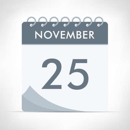 November 25 - Calendar Icon - Vector Illustration. Gray calendar. Illusztráció