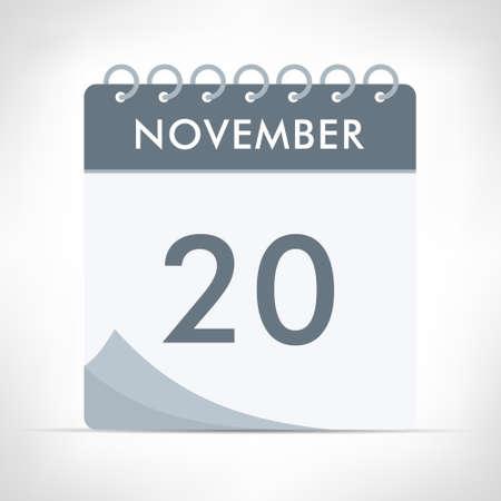 November 20 - Calendar Icon - Vector Illustration. Gray calendar.