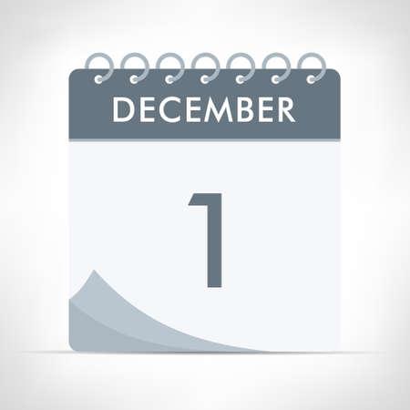 December 1 - Calendar Icon - Vector Illustration. Gray calendar.