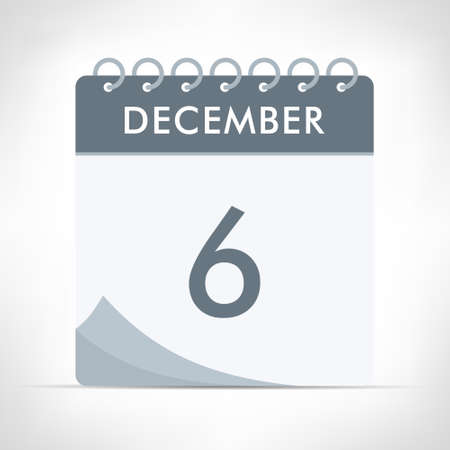 December 6 - Calendar Icon - Vector Illustration. Gray calendar.