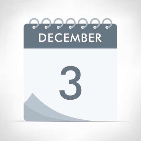 December 3 - Calendar Icon - Vector Illustration. Gray calendar.