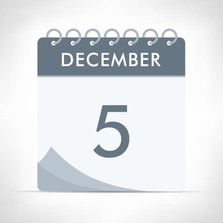 December 5 - Calendar Icon - Vector Illustration. Gray calendar.