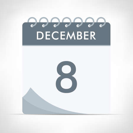 December 8 - Calendar Icon - Vector Illustration. Gray calendar. Illusztráció