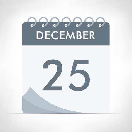 December 25 - Calendar Icon - Vector Illustration. Gray calendar.