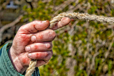 Closeup of mans hand working gardener keeps the rope. Male hand is calloused and bruised. Tinted.