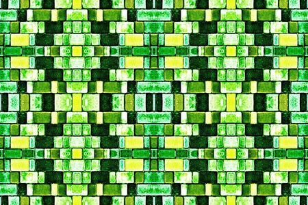 abstract background, kaleidoscope, textured mosaic of colored tiles, sidewalk of colored tiles. Street decorative tiles with geometric pattern. green, yellow background top view. Stockfoto