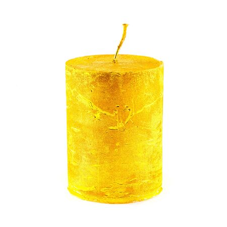 Large gold new candle isolated on white background