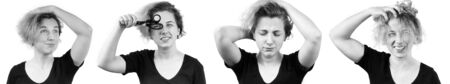 Banner. The difficulty of choosing a girl to cut her hair or grow it further. Emotion map of four sets of thoughts feelings emotions. I have an idea, I need to think about it, sad and scared, joy.